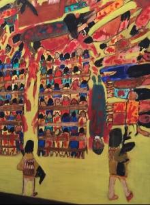 Schilderij bij boek Proche-Orient Mon Amour - Het schilderij van de slachtpartij in de Sayidat al-Nejatkerk in Bagdad hangt nu bij Rudi Vranckx thuis © Rudi Vranckx